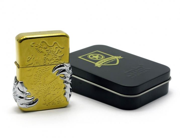 Фото - Бензиновая зажигалка золотистая купить в киеве на подарок, цена, отзывы