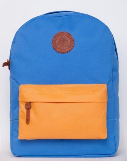 Фото - Рюкзак GiN Bronx голубой с оранжевым карманом купить в киеве на подарок, цена, отзывы