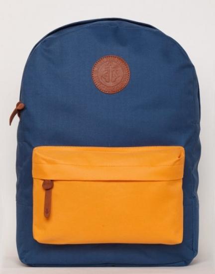 Фото - Рюкзак GiN Bronx неви с оранжевым карманом купить в киеве на подарок, цена, отзывы