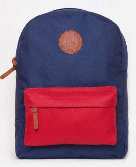 Фото - Рюкзак GiN Bronx синий с красным карманом купить в киеве на подарок, цена, отзывы