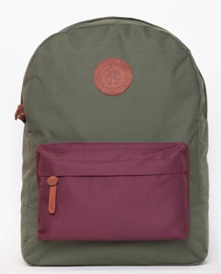 Фото - Рюкзак GiN Bronx хаки с бордовым карманом купить в киеве на подарок, цена, отзывы
