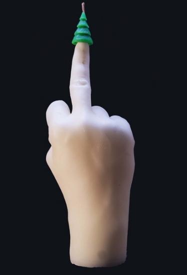 Фото - Свеча в виде руки Средний палец с елкой купить в киеве на подарок, цена, отзывы