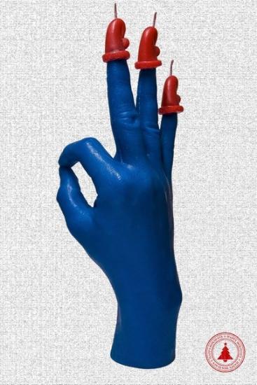 Фото - Свеча в виде руки OK синяя с красным колпаком купить в киеве на подарок, цена, отзывы