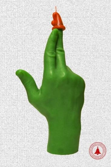 Фото - Свеча в виде руки GUN зеленая купить в киеве на подарок, цена, отзывы