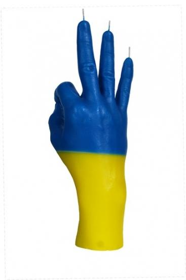 Фото - Свеча в виде руки OK флаг Украины купить в киеве на подарок, цена, отзывы
