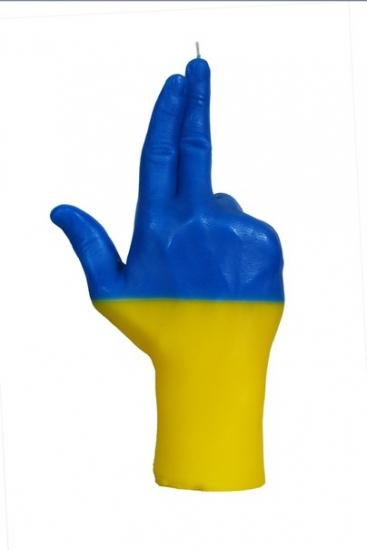 Фото - Свеча в виде руки GUN флаг Украины купить в киеве на подарок, цена, отзывы