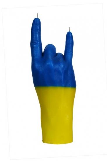 Фото - Свеча в виде руки Коза флаг Украины купить в киеве на подарок, цена, отзывы