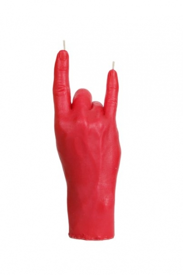 Фото - Свеча в виде руки Коза красная  купить в киеве на подарок, цена, отзывы