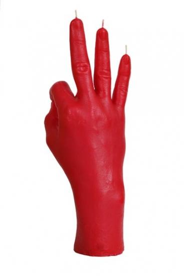 Фото - Свеча красная в виде руки ОК купить в киеве на подарок, цена, отзывы
