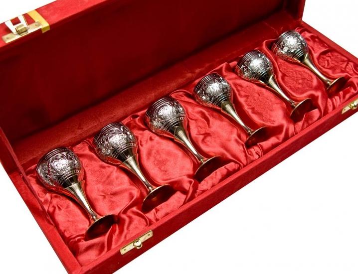 Фото - Бокалы бронзовые посеребренные 6 шт Thomas купить в киеве на подарок, цена, отзывы