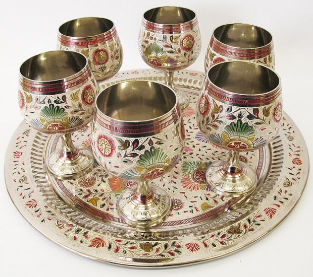 Фото - Бокалы бронзовые хром на круглом подносе купить в киеве на подарок, цена, отзывы