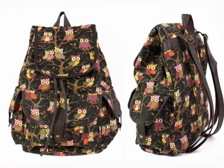 Фото - Рюкзак Холщовый Pattern черный Совушки  купить в киеве на подарок, цена, отзывы