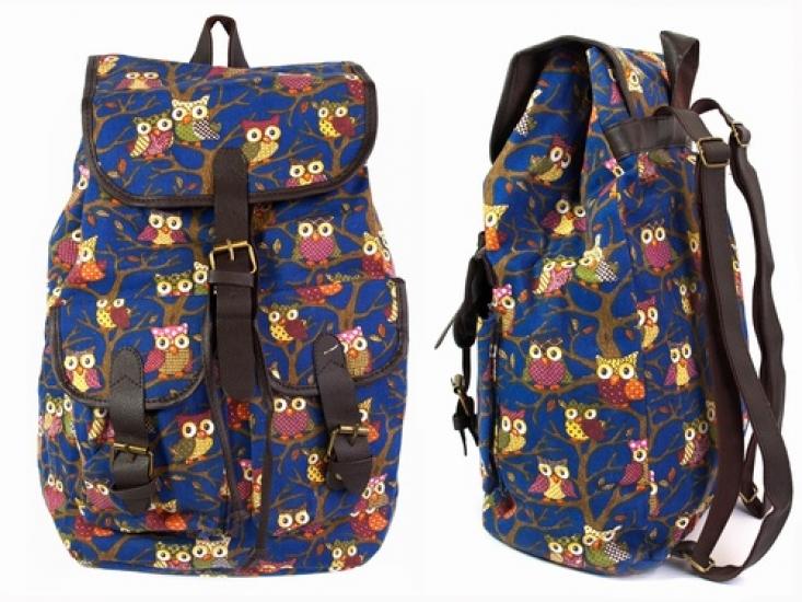 Фото - Рюкзак Холщовый Pattern Совушки Синий купить в киеве на подарок, цена, отзывы