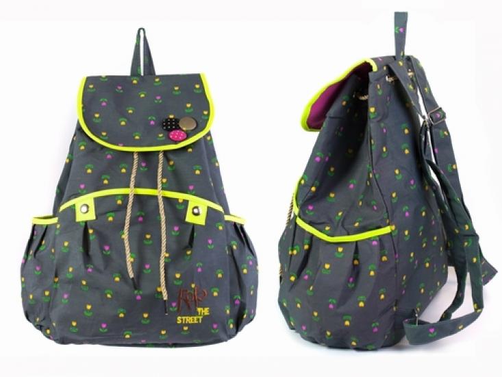 Фото - Рюкзак Холщовый Pattern Тюльпанчики Темно-серый купить в киеве на подарок, цена, отзывы