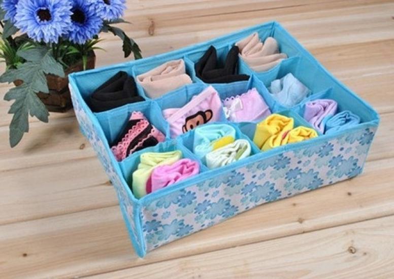 Фото - Органайзер для хранения белья и носков голубой купить в киеве на подарок, цена, отзывы