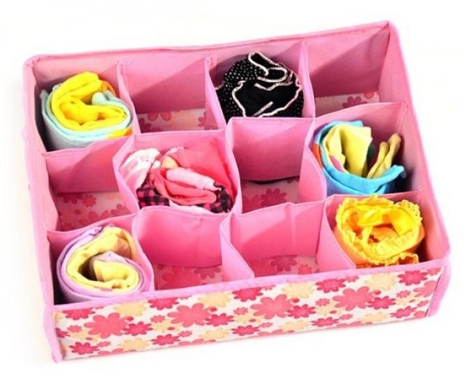 Фото - Органайзер для хранения белья и носков розовый купить в киеве на подарок, цена, отзывы