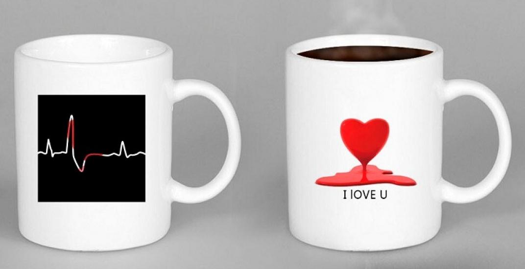 Фото - Чашка хамелеон HEARTBEAT Биение сердца купить в киеве на подарок, цена, отзывы