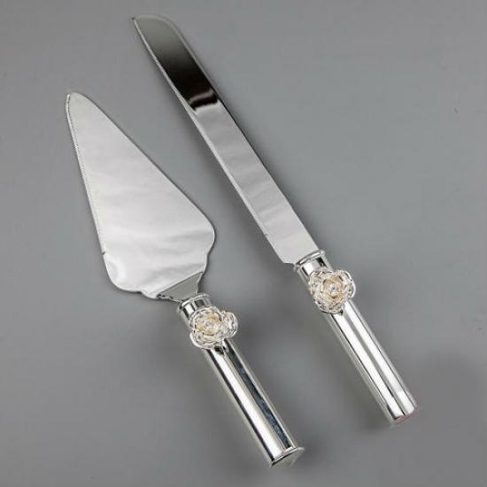 Фото - Нож и лопатка для торта Розочки купить в киеве на подарок, цена, отзывы