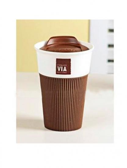 Фото - Керамическая чашка с крышкой шоколадная VIA. STARBUCKS купить в киеве на подарок, цена, отзывы