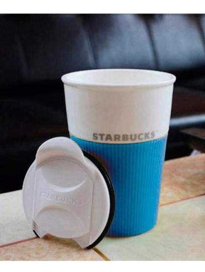 Фото - Керамическая чашка с крышкой голубая VIA STARBUCKS купить в киеве на подарок, цена, отзывы