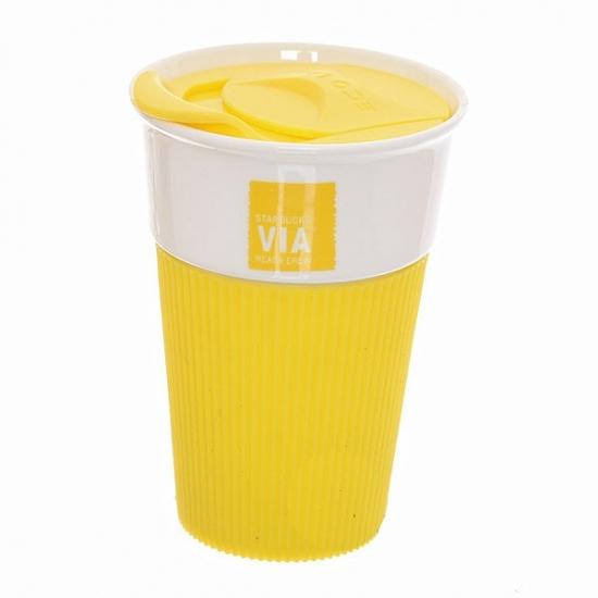 Фото - Керамическая чашка с крышкой Желтая VIA STARBUCKS купить в киеве на подарок, цена, отзывы