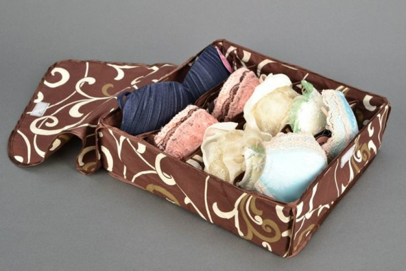 Фото - Органайзер для белья с крышкой 7 отделений Мокко купить в киеве на подарок, цена, отзывы