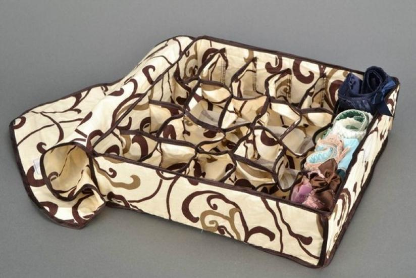 Фото - Органайзер для белья с крышкой 24 отделения Песочный купить в киеве на подарок, цена, отзывы