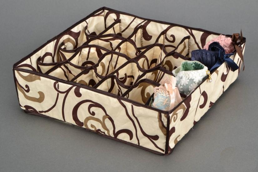 Фото - Органайзер для белья без крышки 24 отделений Песочный  купить в киеве на подарок, цена, отзывы
