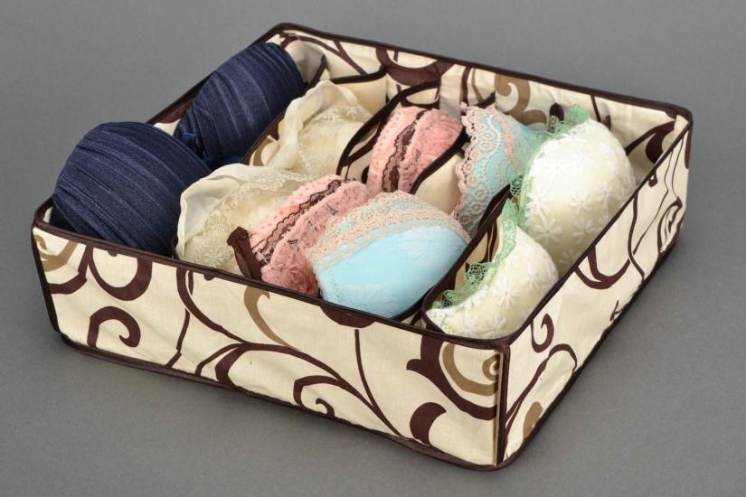 Фото - Органайзер для белья без крышки 7 отделений Песочный  купить в киеве на подарок, цена, отзывы
