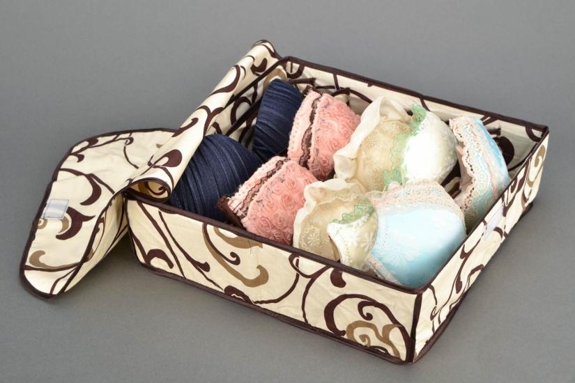 Фото - Органайзер для белья с крышкой 7 отделений Песочный  купить в киеве на подарок, цена, отзывы