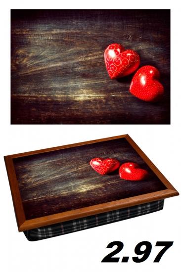 Фото - Поднос с подушкой Два сердечка купить в киеве на подарок, цена, отзывы