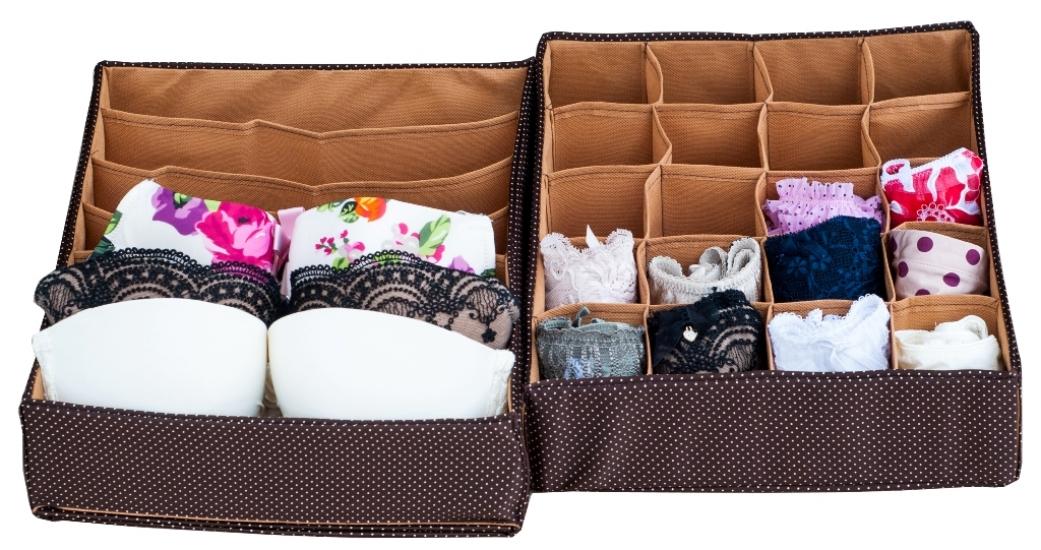 Фото - Комплект органайзеров из 2 шт Коричневый горошек купить в киеве на подарок, цена, отзывы