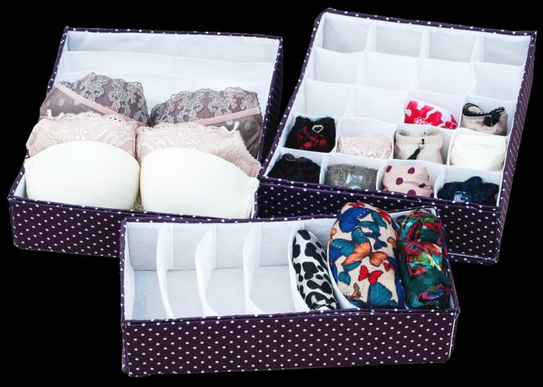 Фото - Комплект органайзеров из 3 шт Фиолетовый горох купить в киеве на подарок, цена, отзывы