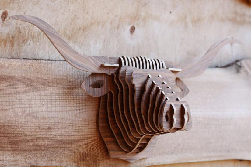 Фото - Интерьерная голова быка 3D пазл купить в киеве на подарок, цена, отзывы