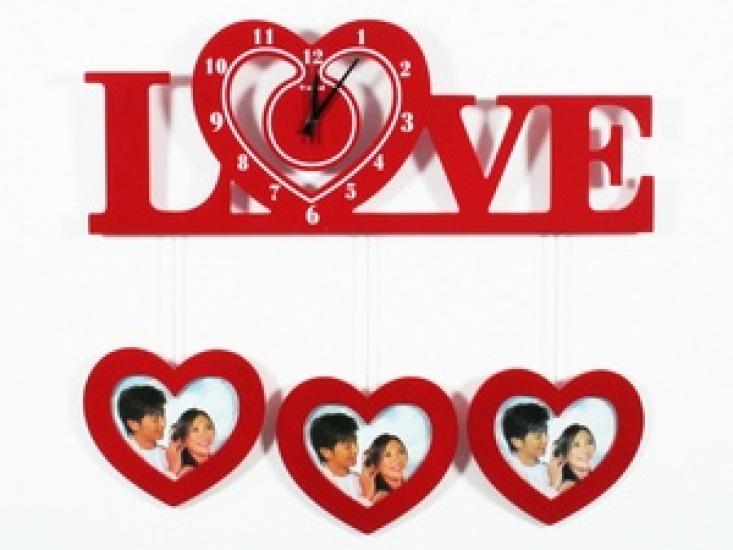 Фото - Часы настенные Love красные купить в киеве на подарок, цена, отзывы