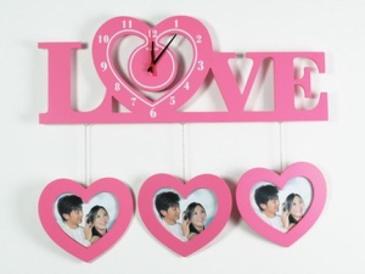 Фото - Часы настенные Love розовые купить в киеве на подарок, цена, отзывы
