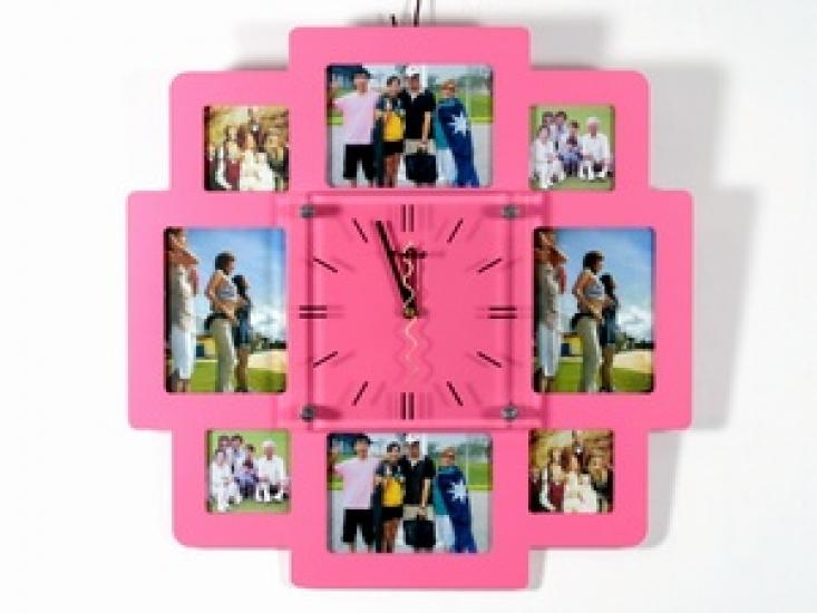 Фото - Часы настенные семейные на 8 фото розовые купить в киеве на подарок, цена, отзывы