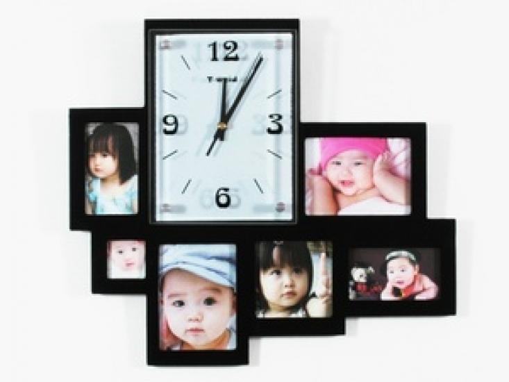 Фото - Часы настенные на 6 ассиметричных фото купить в киеве на подарок, цена, отзывы