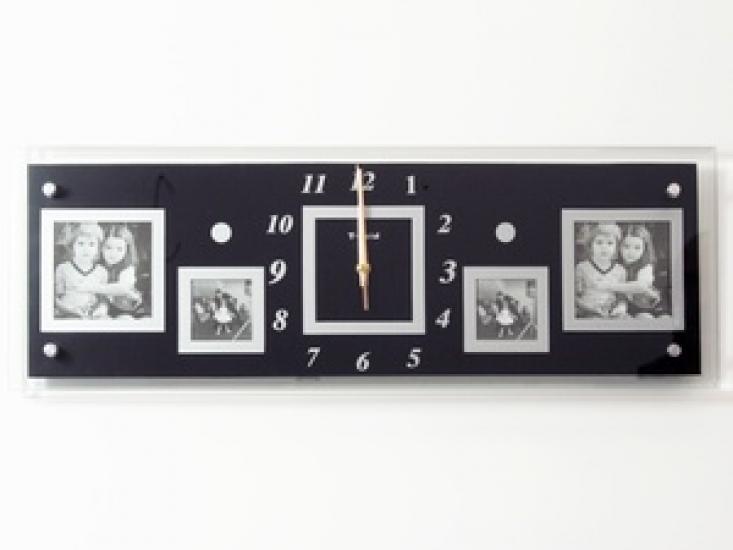 Фото - Часы настенные Семейные воспоминания на 4 фото черные купить в киеве на подарок, цена, отзывы