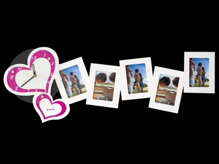 Фото - Часы настенные Сердечки на 5 фото белые купить в киеве на подарок, цена, отзывы