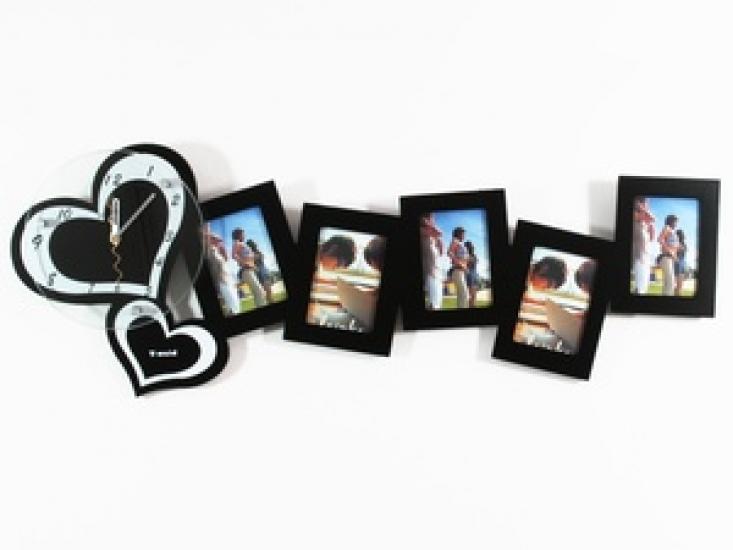 Фото - Часы настенные Сердечки на 5 фото черные купить в киеве на подарок, цена, отзывы
