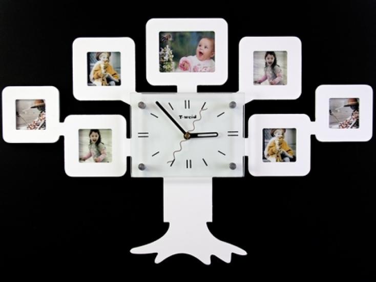 Фото - Часы настенные семейное дерево на 7 фото белые купить в киеве на подарок, цена, отзывы