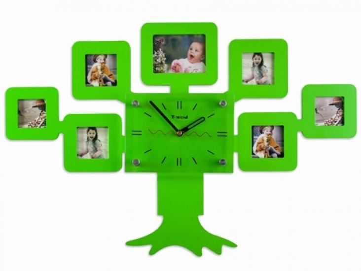 Фото - Часы настенные семейное дерево на 7 фото зеленые купить в киеве на подарок, цена, отзывы