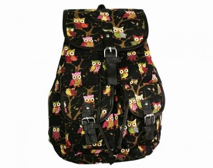 Фото - Рюкзак Холщовый Pattern Совушки Черный купить в киеве на подарок, цена, отзывы