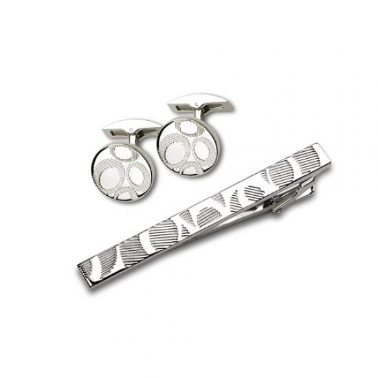 Фото - Заколка для галстука+запонки серебристые купить в киеве на подарок, цена, отзывы