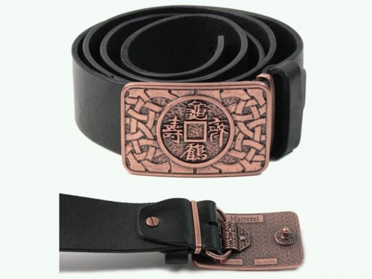 Фото - Кожаный ремень Китайская монета счастья  купить в киеве на подарок, цена, отзывы