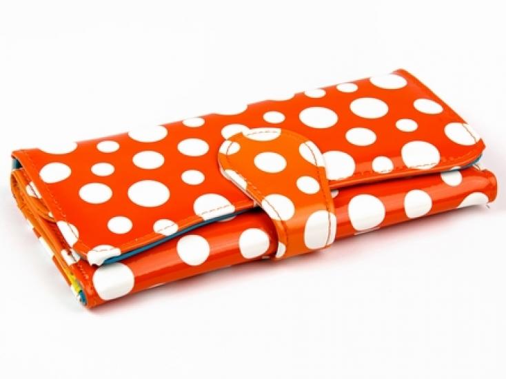 Фото - Кошелек Белый Горошек (Оранжевый) купить в киеве на подарок, цена, отзывы