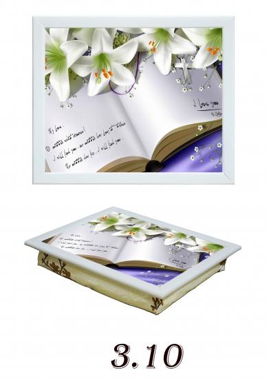 Фото - Поднос с подушкой Лилии на книге купить в киеве на подарок, цена, отзывы