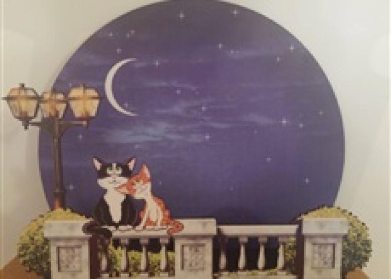 Фото - Светильник 2 кота на заборе купить в киеве на подарок, цена, отзывы