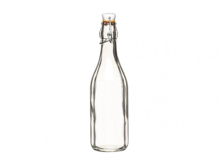 Фото - HM Бутылка стеклянная с керамической пробкой и зажимом 500 мл (26 см) купить в киеве на подарок, цена, отзывы